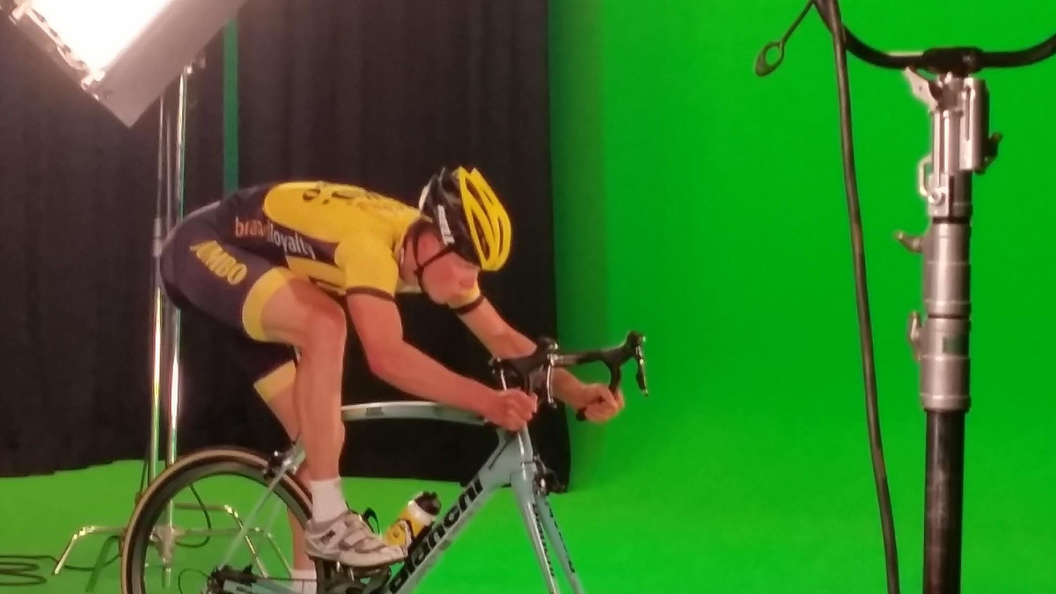wielrenner greenscreen studio